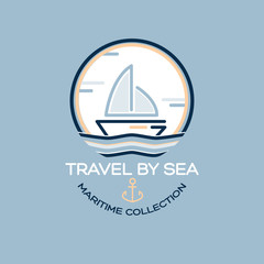 Travel by sea. Maritime collection illustration