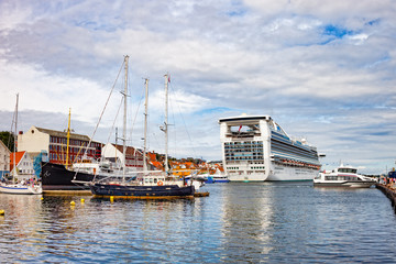 Beautiful view on port with many boats, yachts in Stavanger, Norway.