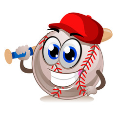 Vector Illustration of a Baseball Mascot wearing Cap and Holding Bat