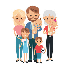 Family cartoon concept represented by parents, grandmother and kids icon. Isolated and Colorfull illustration.