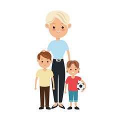 Family cartoon concept represented by mother and kids icon. Isolated and Colorfull illustration.