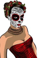 Skull girl with flowers. Black and white illustration. Vector