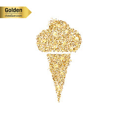 Gold glitter vector icon of ice cream isolated on background. Art creative concept illustration for web, glow light confetti, bright sequins, sparkle tinsel, abstract bling, shimmer dust, foil.