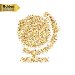 Gold glitter vector icon of globe isolated on background. Art creative concept illustration for web, glow light confetti, bright sequins, sparkle tinsel, abstract bling, shimmer dust, foil.