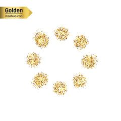 Gold glitter vector icon of loading isolated on background. Art creative concept illustration for web, glow light confetti, bright sequins, sparkle tinsel, abstract bling, shimmer dust, foil.