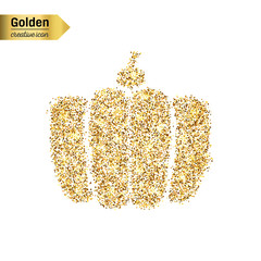 Gold glitter vector icon of gourd isolated on background. Art creative concept illustration for web, glow light confetti, bright sequins, sparkle tinsel, abstract bling, shimmer dust, foil.