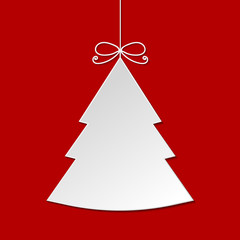 White Christmas tree with shadow isolated on red background. Vec