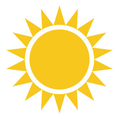 Yellow gold Sun icon isolated on background. Modern flat pictogr