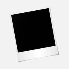 Blank photo polaroid frame with adhesive tape isolated on transp