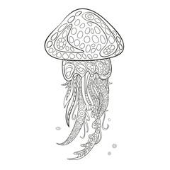 Hand drawn vector jellyfish in black and white zentangle doodle style. Pattern for coloring book.