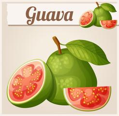 Guava fruit. Cartoon vector icon