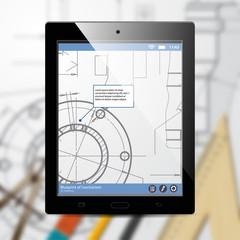 Vector technical blueprint of mechanism