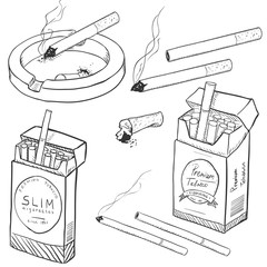Vector Set of Sketch Cigarettes and Cigarette Boxes.