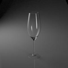 空のシャンパングラスの3Dレンダリング画像