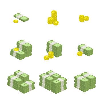 Vector set of icons money