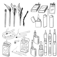 Vector Sketch Set of Smoking and Vaping. Cigarettes, Matches, Lighters and Vapes.