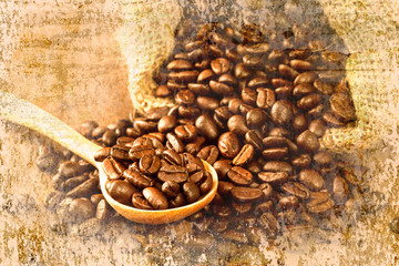 coffee beans with wooden spoon on wood table on old wall texture