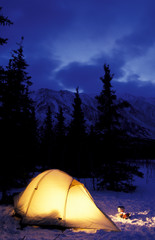 North America, USA, Alaska, Iditarod trail, near Rainy Pass, backpacker's tent