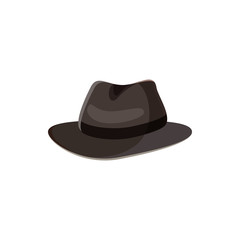 Black hat icon in cartoon style on a white background
