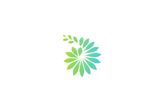 green leaf abstract ecology vector logo