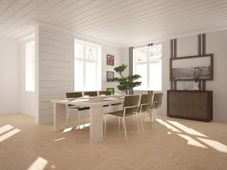 white interior design with furnirure. Scandinavian style