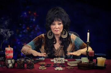 Fortuneteller doing tarot cards reading