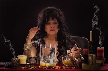 Portrait of psychic doing egg divination