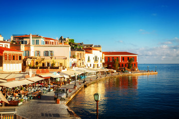 bay of Chania at sunny summer day, Crete Greece, toned
