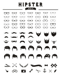 Hipster style infographics elements and icons set for retro design.Hipster hair and beards, fashion vector illustration set