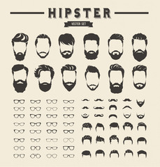 Hipster hair style and beards, Men fashion vector for barbershop and logo template.