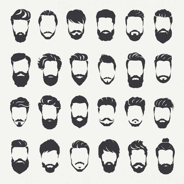 Hipster hair style and beards, Men fashion vector for barbershop and logo template