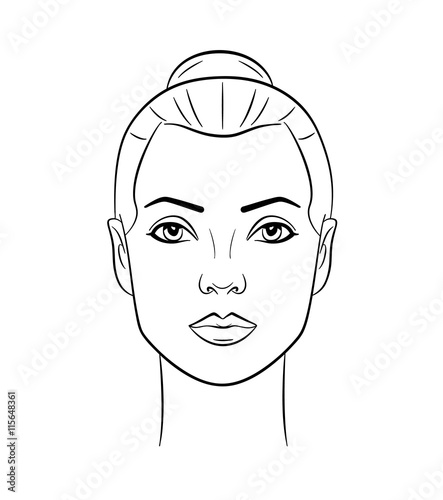 Line Art Face : Quot beautiful woman face line drawing stock image and