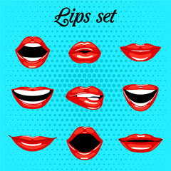 Set of red kissing and smiling cartoon mouth