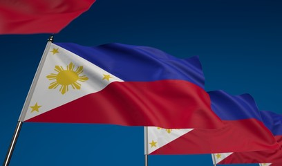 Philippines flag on clear blue sky, photo realistic waving flag made by 3D graphics with depth of field blur, ultra high 42MP resolution