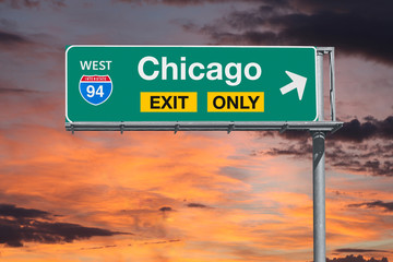 Chicago Exit Only Freeway Sign with Sunrise Sky