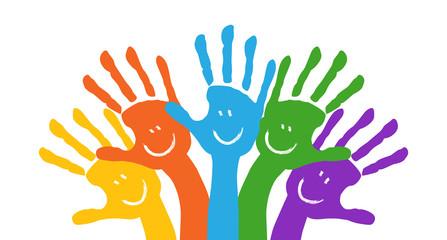 Bunte Hände Gruppe Illustration Banner