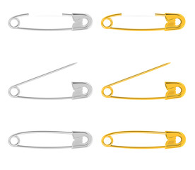 Silver and gold safety pin set vector illustration