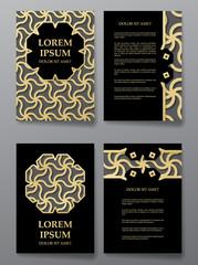 Cover brochure gold design. Arabic traditional decorative elements.