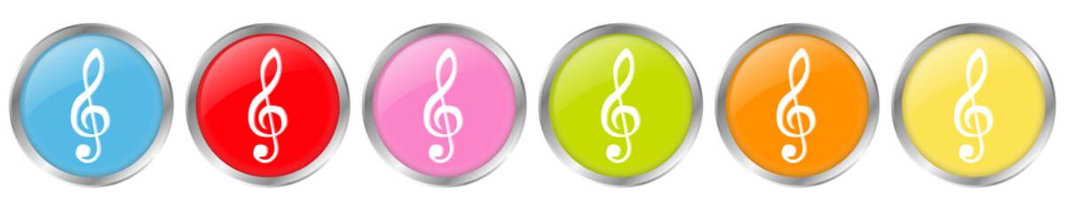 6 Farbige 3D Buttons mit Violinschlüssel