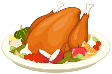 Vector illustration of a cooked turkey on a platter with various vegetables and fruit.