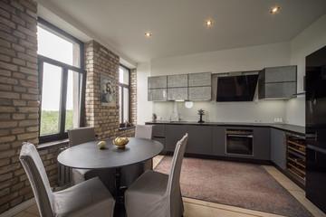 Contemporary interior studio, kitchen, lounge. Modern interior in private flat.