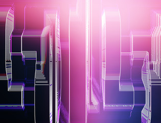Vertical pink and purple skyscrapers with light leak  llustratio