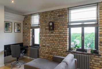 Contemporary interior studio, cabinet. Modern interior in privat