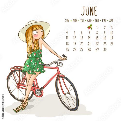 June Calendar Girl Series : Quot calendar june month season girls design vector
