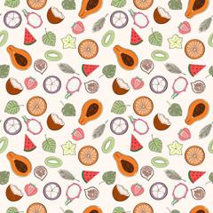 Seamless exotic fruit pattern