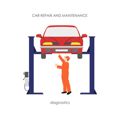 Mechanic produces vehicle diagnostics. The car on the lifting ra