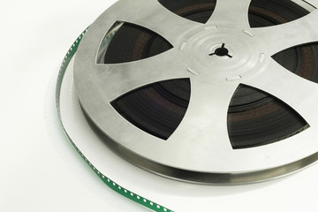 Detail of film reel on white isolated background
