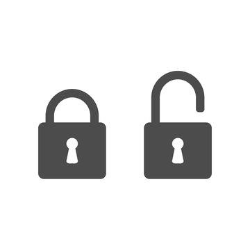 Lock icon, padlock silhouette