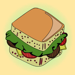 Sandwich Pop art vector illustration