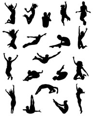 Black silhouette of jumping people, vector